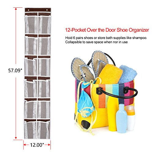 Over the Door Shoe Organizer, Magicfly 12 Mesh Pockets Hanging Shoe Storage Rack for Maximizing Shoe Storage, Accessories, Toiletries, Laundry Items. Brown
