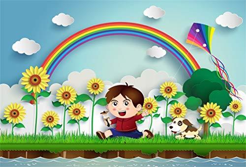 Leyiyi 5x3ft Kids Happy Birthday Backdrop Spring Garden Banner Gardening Flower Blossom Baby Shower Background Cartoon Rainbow Little Boy Fly Kite Dog Grassland River Portrait Vinyl Prop Studio Booth ()