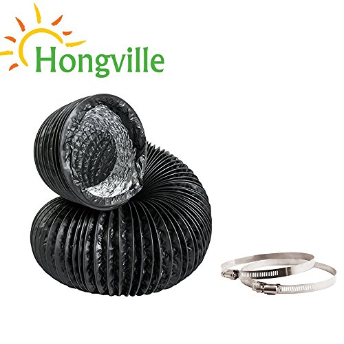 Hongville 25 Feet Black PVC Air Ducting for Ventilation with 2 PCS Adjustable Stainless Steel Worm Gear Hose Clamps (12