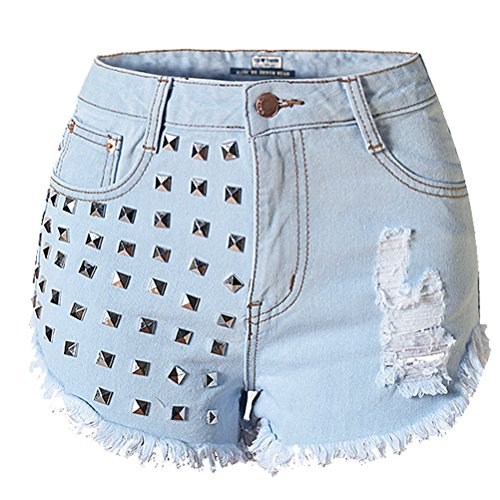 Studded Qualité Denim Ripped Summer Square Distressed Fashion Bleu Womens Shorts Laixing Sl009 YHW86RTR