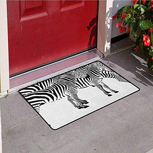 Etched Zebra Stripe - GloriaJohnson Safari Welcome Door mat Zebras African Animals Skin Print with Stripes Jungle Wildlife Picture Artwork Door mat is odorless and Durable W31.5 x L47.2 Inch Black and White