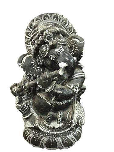 Yoga statue Ganesha Statue Playing Flute Gorara Black Stone Sculpture Hindu Yoga Altar 6 (Boy Playing Flute)