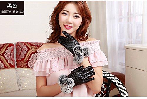 Generic Leather_ glove gloves women girls _touch_screen_profile,_rabbit hair of_ women girls autumn winter _thickening_plus_velvet_warm_ winter _Korean_style_of bicycle_repair