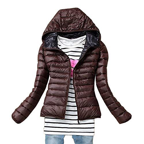 Parka Quilted Sottile Cappotto Piumino Signore Womens Hooded Invernali Caffè Esterno Cappotto Xfentech 0q5RwC7