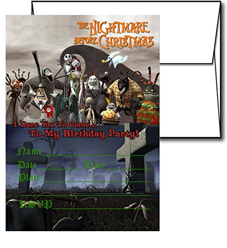 12 NIGHTMARE BEFORE CHRISTMAS Holiday Invitation Cards (12 White Envelops Included) #2 -