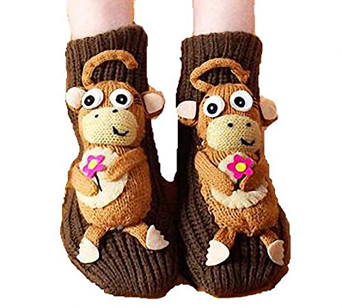 - PreSox Non-slip Knit Sweater Warm Household Floor Socks for Women (brown monkey)