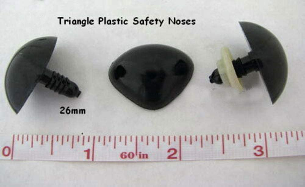 10 pcs Black 26mm Eyes Puppets Buttons Craft Sewing Triangle Plastic Safety Noses