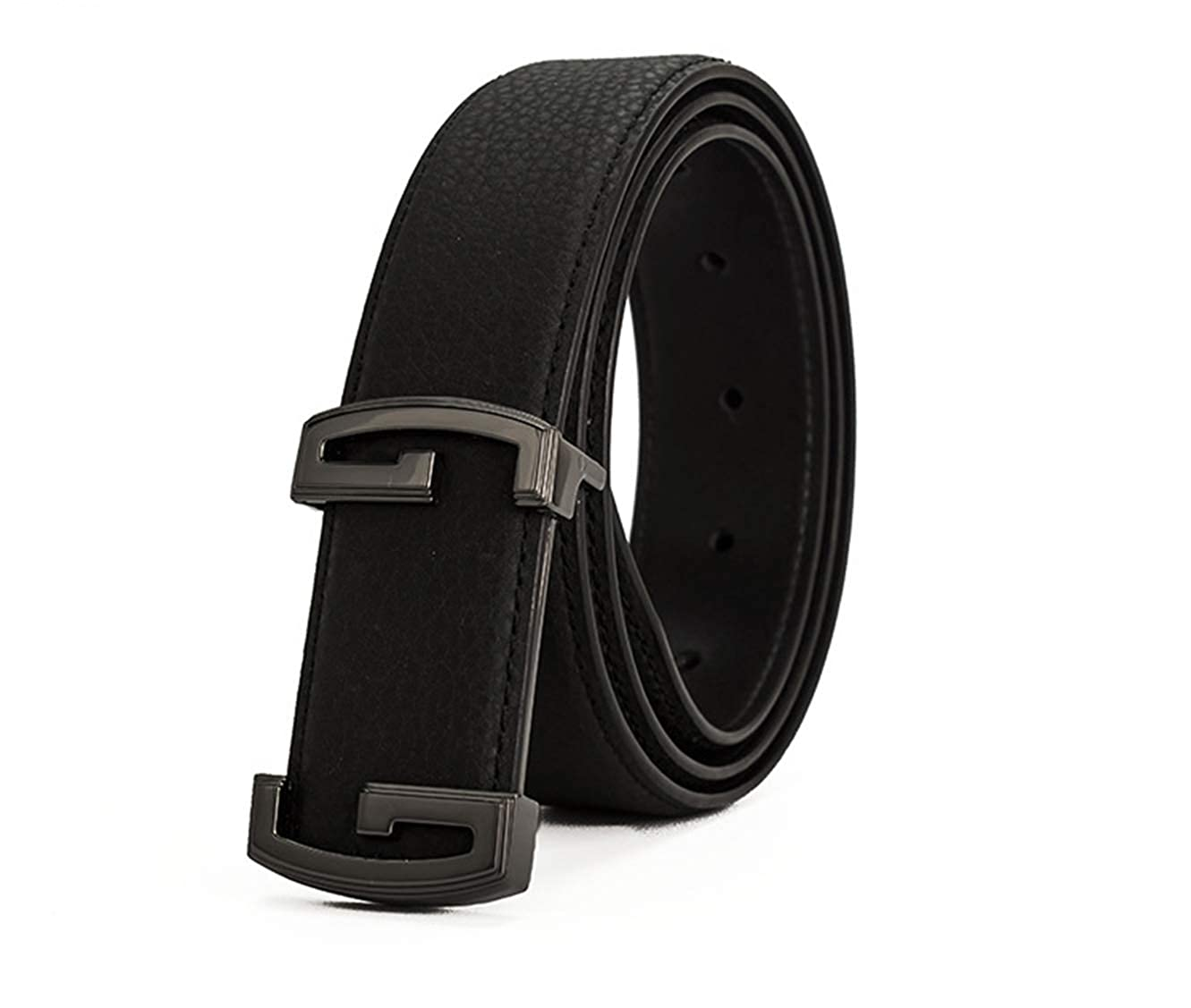 Mens double G smooth buckle lychee leather belt