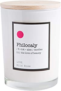 Philocaly Scented Jar Candle – Soy Wax, Cotton Wick & Recycled Glass – Slow, Clean Burn and Long-Lasting Scent – 9.5oz., Love, Wild Rose