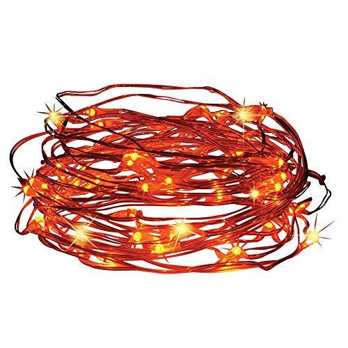 Outdoor Decorations Solar Powered Outdoor Light String with 50 Orange Lights, 16.5 Foot Cable, Deck, Porch, Patio