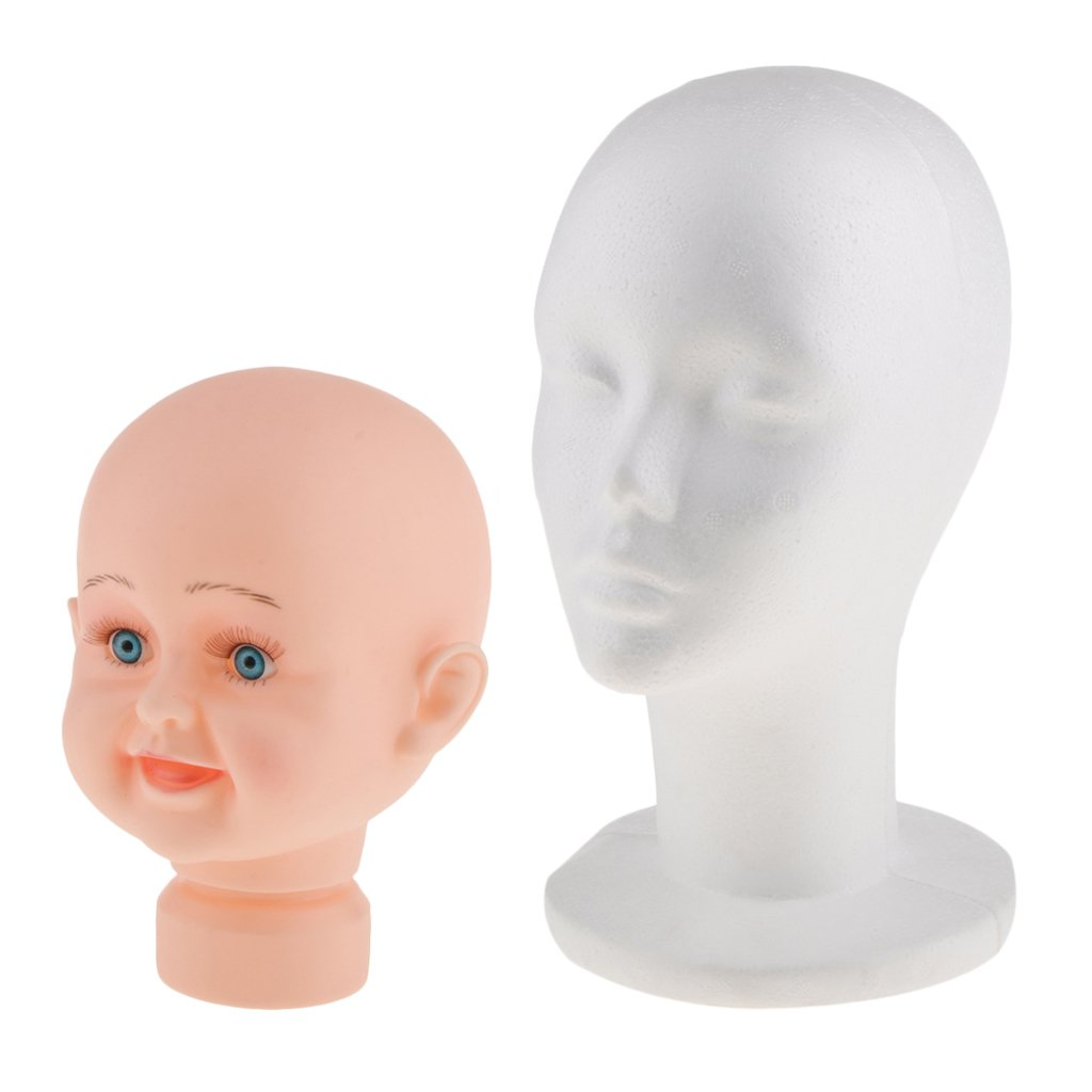 MagiDeal Femal Foam Mannequin Head +Child Manikin Model Stand for Wigs Hats Display non-brand