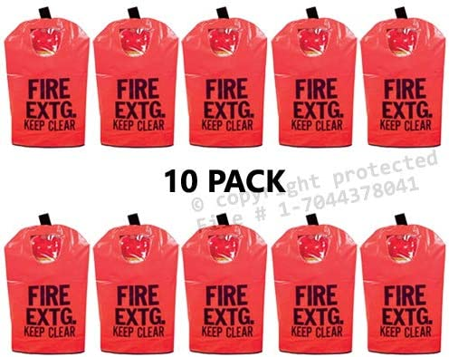 "(10 Pack) FIRE EXTINGUISHER COVERS (With Window) for 10 to 20lb. Extinguishers, Medium 25"" x 16 1/2"" 512kQt6sPHL"