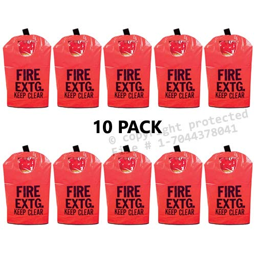 (10 Pack) FIRE EXTINGUISHER COVERS (With Window) for 10 to 20lb. Extinguishers, Medium 25