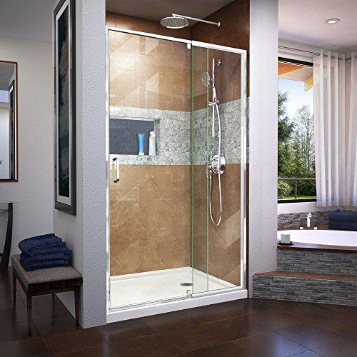 DreamLine Shdr-22427200-01 Flex 38-42 in. W x 72 in. H Semi-Frameless Pivot Shower Door, Chrome by DreamLine