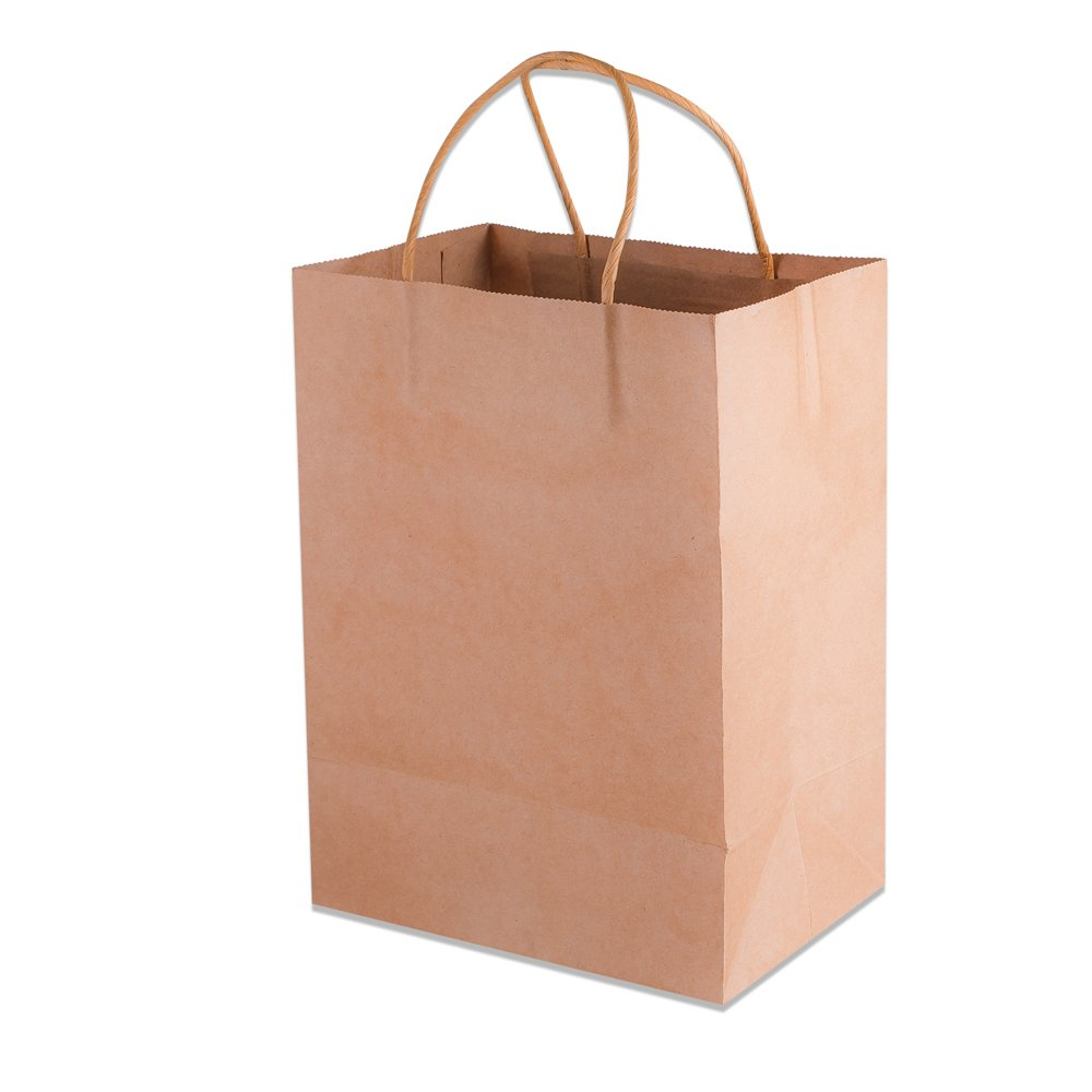 Kraft Paper Bags With Handles - Brown - 50 Piece Set - 8''x4.75''x10'' - Holds up to 18.6lbs