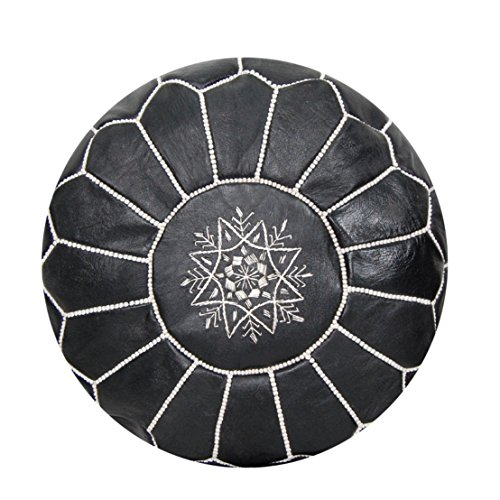Black Leather with White Stitchings Moroccan Pouf Unstuffed