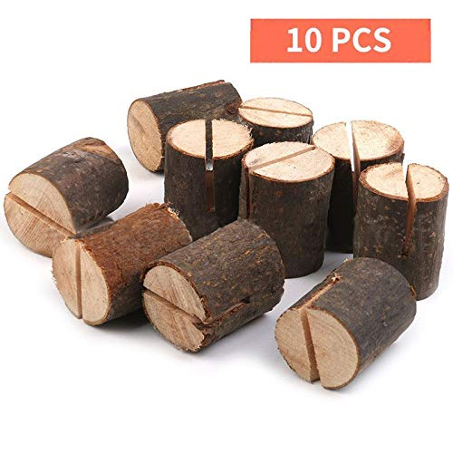 Haperlare 10pcs Wooden Table Number Holders Wooden Place Card Holder Wooden Wedding Card Holder Made of Natural Hardwood Wooden Card Holder for Home Birthday Party Rustic Wedding Decorations (type1)