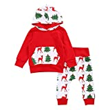 Hosamtel Christmas Newborn Baby Boy Girl Deer Printed Hoodie Tops+Pants Outfits