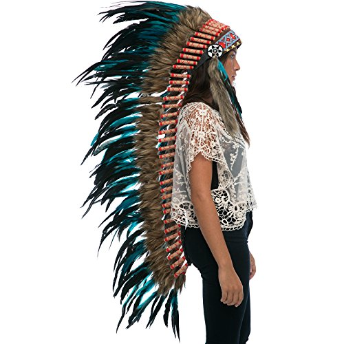 [Extra Long Feather Headdress- Native American Indian Inspired- Handmade Halloween Costume for Men Women with Real Feathers - Aqua Rooster] (India Costume Female)