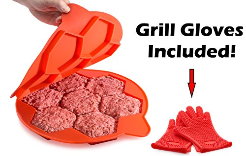 XL Silicone Burger Press | Burger Mold Makes 7 Mess-Free Bun-Sized Patties | Extra Large Patty Maker with Grill Gloves (Bun Press)