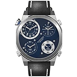 Timecode Boson 2013 TC-1006-03 FOUR TIME ZONES 49mm Men's Watch BLUE dial BLACK Leather