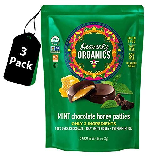 (Heavenly Organics Mint Chocolate Honey Patties, (3 Bags) Made with 100% Organic Cocoa and 100% Organic Raw White Honey; Non-GMO, Fair Trade, Kosher, Dairy & Gluten Free, No Sugar Added)