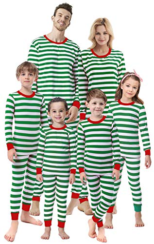 Children Christmas Clothing (Matching Family Christmas Girls Boys Striped Pajamas Children Clothes Sleepwear Kids Size)