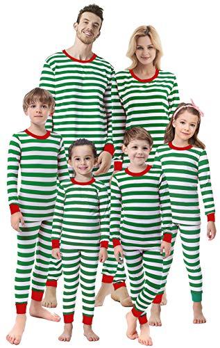(Matching Family Christmas Girls Boys Striped Pajamas Children Clothes Kids Sleepwear Women)