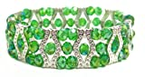 Just Give Me Jewels Beaded Stretch Triple Bracelet Green, Adjustable Size