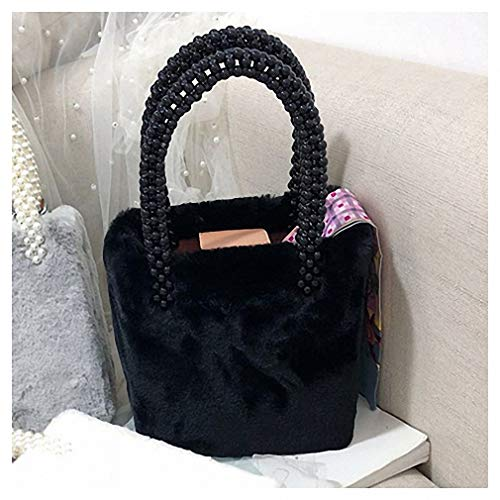 Womens Shoulder Bags Beading Box Pearls Bags for Women Handbags Winter Faux Fur Totes Bags Top-Handle Bag Girls Design Chic Purse Feminina Black