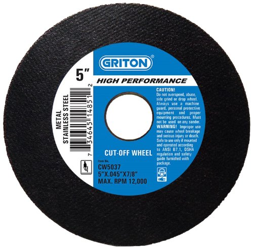 7//8 Hole Diameter 5 Diameter Griton CW5037 Arbor Industrial Cut Off Wheel for Stainless Steel and Metal Pack of 50 7//8 Hole Diameter 5 Diameter 0.045 Width Pack of 50 0.045 Width Griton Industries