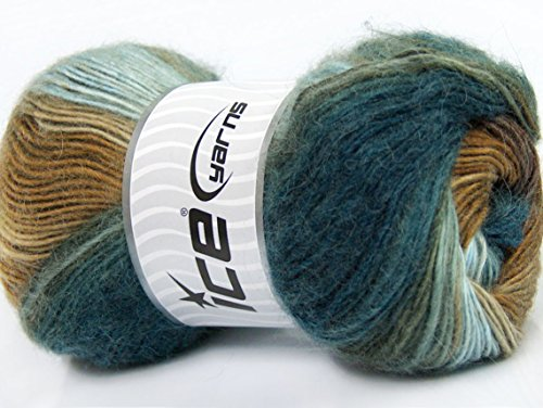 Brown Mohair Light (Lot of 4 x 100gr Skeins ICE Madonna (40% Wool 30% Mohair) Yarn Brown Shades Teal Light Blue)