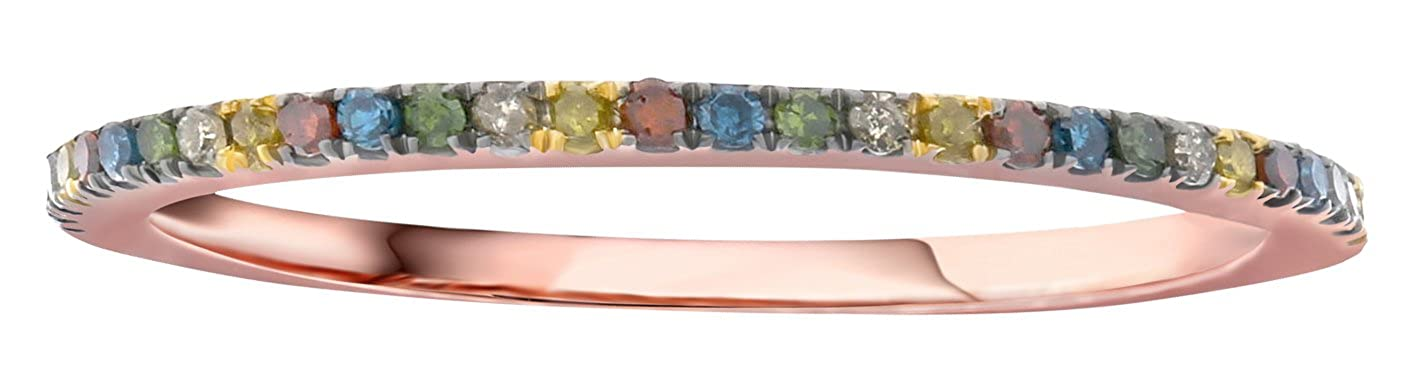 Prism Jewel 0.15 Carat Round Multi Color Diamond Stackable Band