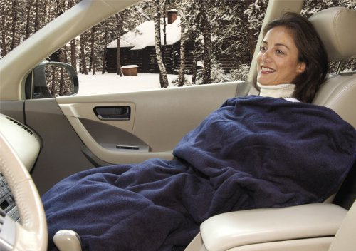 Trillium Worldwide Car Cozy 2 12-Volt Heated Travel Blanket (Navy, 58