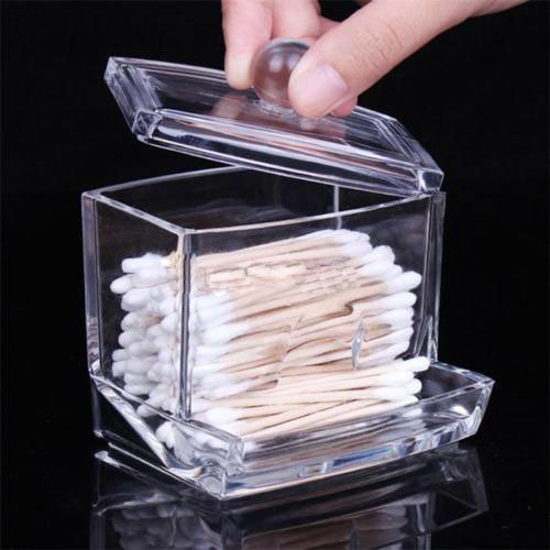 Clear Acrylic Cotton Swab Q-tip Storage Holder Box Cosmetic Makeup Case KY