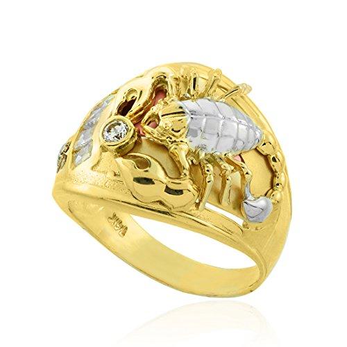 10K Multi-tone Gold Scorpion Men's CZ Ring (9)