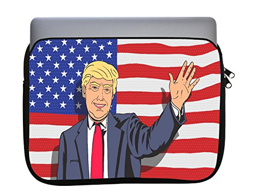 American Flag Caricature Cartoon President Caricature 11x14 inch Neoprene Zippered Laptop Sleeve Bag by Trendy Accessories for MacBook or Any Other Laptop by Trendy Accessories