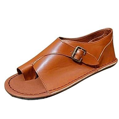 c59351ea87d46 Amazon.com: 2019 Women's Retro Buckle-Strap Leather Sandals Flat ...