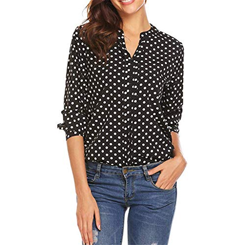 (TUSANG Tees Women Polka Dot 3/4 Sleeve Blouse Ladies Casual Office Tops Work V Neck T-Shirt Comfy Tunic(Black,US-18/CN-5XL))