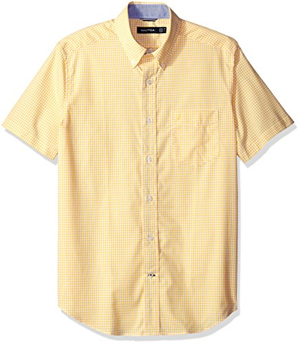 picture of Nautica Men's Classic Fit Wrinkle Resistant Short Sleeve Plaid Shirt, Empire Gold, L