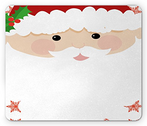 White Mistletoe Santa Hat - Ambesonne Kids Christmas Mouse Pad by, Cartoon Face of Santa with Pink Cheeks White Beard and Mistletoe on His Hat, Standard Size Rectangle Non-Slip Rubber Mousepad, Multicolor