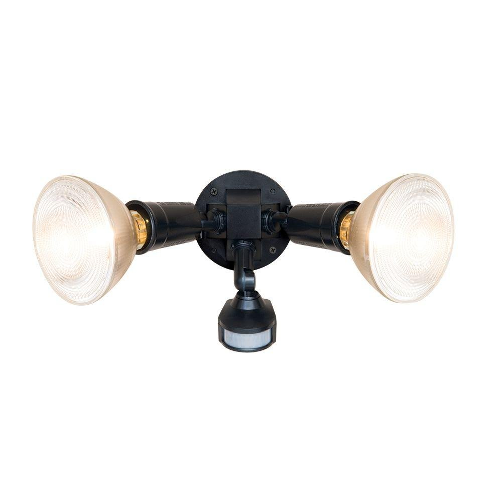 All-Pro Small 7''Compact 7 inch Bronze Dual Head Motion Sensor Incandescent Light with Automatice LED Night light by All-Pro & Sunbeam