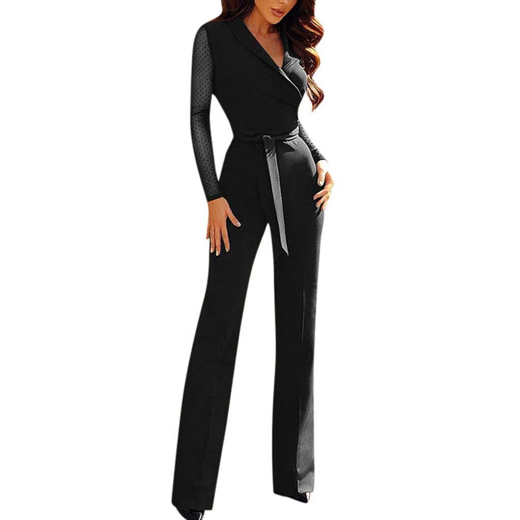 GWshop Ladies Fashion Elegant Jumpsuit Ladies Jumpsuits for Evening Wear, V-Neck Long Sleeve Playsuit Wide Leg Romper Black S