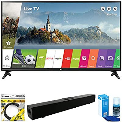 "LG 49"" Class Full HD 1080p Smart LED TV 2017 Model (49LJ5500) with Xtreme Solo X3 Bluetooth Home Theater Sound Bar, 6ft High Speed HDMI Cable Black & Universal Screen Cleaner for LED TVs"