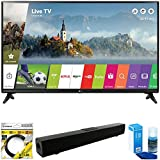 LG 49 Class Full HD 1080p Smart LED TV 2017 Model (49LJ5500) with Xtreme Solo X3 Bluetooth Home Theater Sound Bar, 6ft High Speed HDMI Cable Black & Universal Screen Cleaner for LED TVs