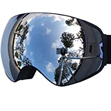 IceHacker Lagopus X2 Snowmobile Snowboard Skate Ski Goggles with Detachable Lens and Wide Angle Double Lens Anti-fog Big Spherical