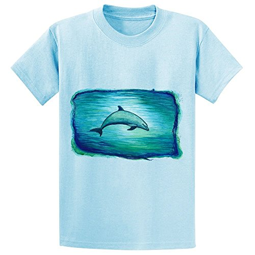 Indigo Lagoon Dolphin Watercolor Kid's Crew Neck Print T Shirts L-blue