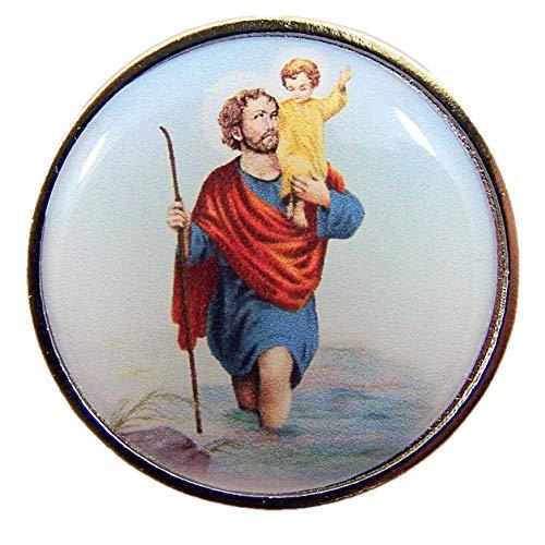 Religious Saint Christopher Pocket Medal with Prayer Back, 1 1/4 Inch