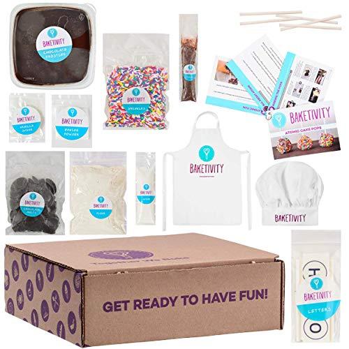 [해외]Baketivity 아동용 베이킹 세트 식사 요리 파티 용품 키트 실제 재미있는 작은 주니어 요리사 필수 주방 레슨 미리 측정된 성분 포함 / BAKETIVITY Kids Baking DIY Activity Kit - Bake Delicious Cake Pops With Pre-Measured Ingredients - Best ...