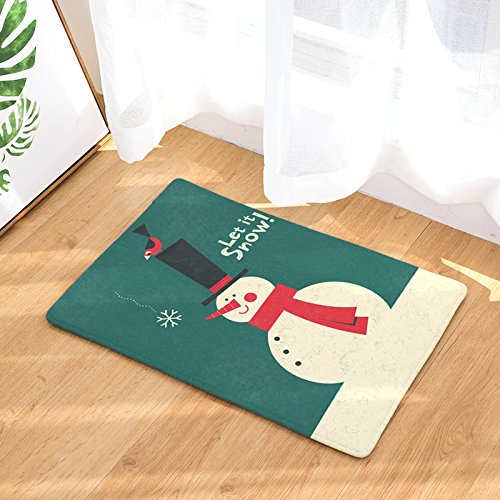 Non Slip Watercolor Lei It Snow Home Bathroom Bath Shower Bedroom Mat Toilet Floor Door Mat Rug Carpet Pad Doormat (Happy Snowman), 23.6
